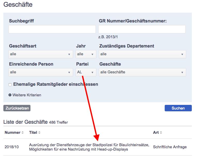 Screenshot vom 24. Januar 2018, Geschäfte Gemeinderat Zürich
