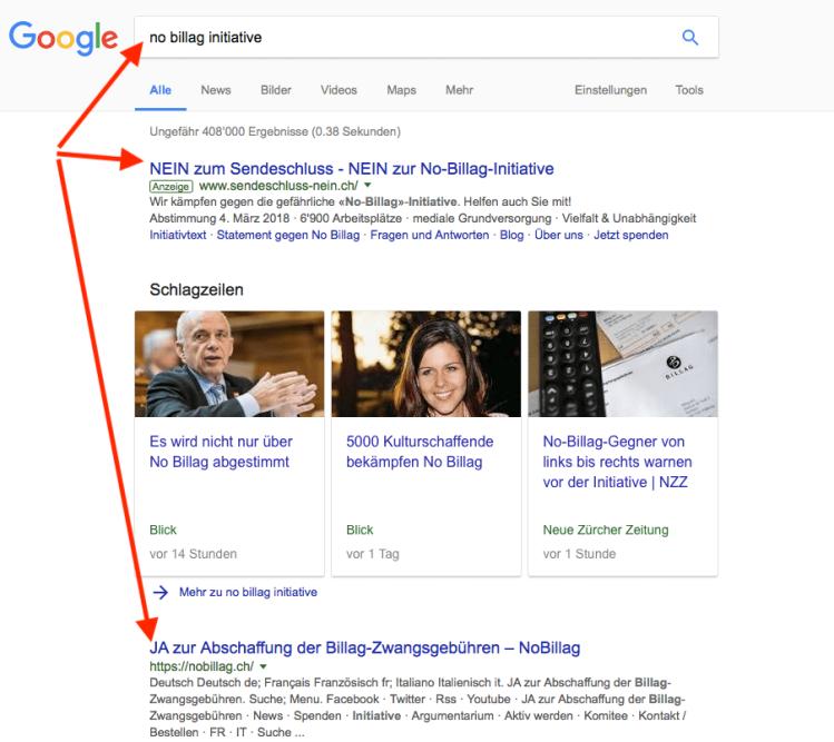 Screenshot Google am 9.1.2018